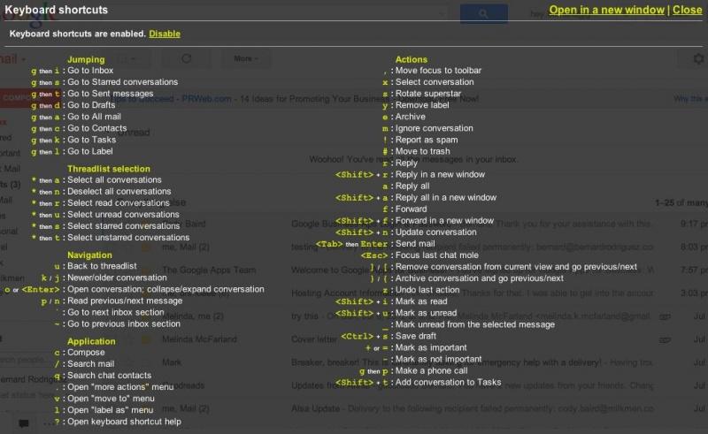 Gmail Keyboard Shortcuts Menu