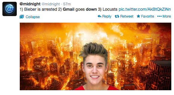 Apocalypse on Twitter Starring Google and Justin Beiber
